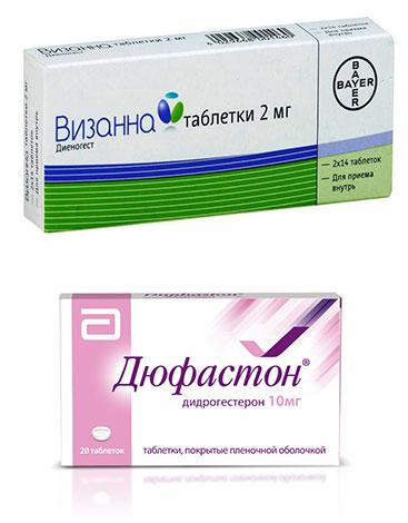 Препараты с прогестероном (Визанна, Дюфастон)