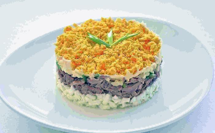 салат мимоза из печени трески