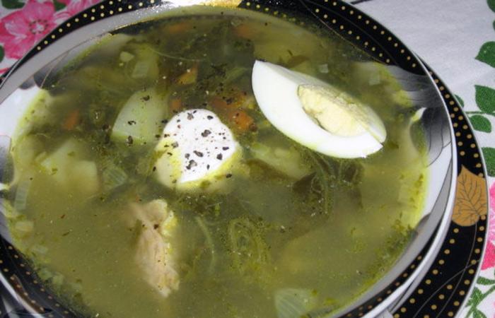 суп с щавелем и курицей